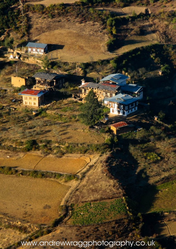 Bhutan - Aerial photo of houses