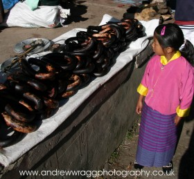 Bhutan - Yak sausages at Paro market