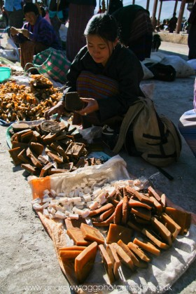 Bhutan - Cheese seller at Paro market